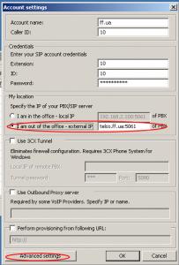 Настройка для абонента за пределами оффиса (I am out of the office — external IP) Далее нажимаем «Advanced settings»