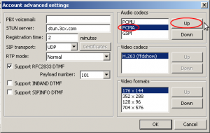 Выбираем кодек «PCMA» и кнопочкой «Up» подымаем его в верх списка.